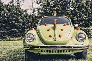 Фотографии Volkswagen Спереди Фар Зеленых beetle авто