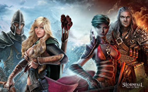 Картинка Воители Лучники Stormfall: Age of War Доспехи Фэнтези Девушки