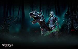 Картинка Воители Динозавры Stormfall: Age of War Мечи Фэнтези Девушки