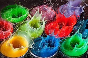 Картинка Вода Брызги Разноцветные
