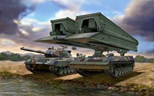 Фото Боевая техника Танки Немецкий Leopard 1A5, Bridgelayer Biber