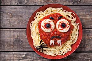 Фотография Доски Тарелка Макароны Кетчуп Дизайн Продукты питания