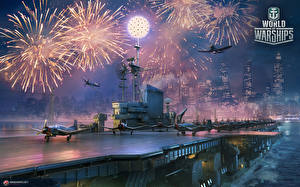 Обои World Of Warship Салют Корабль Авианосец Истребители Американские Midway Игры Армия