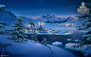Фотографии World Of Warship Корабли Новый год Зимние Немецкий Снегу Cruiser Admiral Graf Spee компьютерная игра Армия