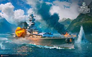 Картинка World Of Warship Корабли Немецкий Стрельба Cruiser Admiral Graf Spee компьютерная игра Армия