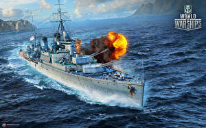 Картинки World Of Warship Корабли Стрельба Британский Cruiser Fiji Игры Армия