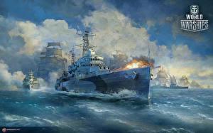 Картинка World Of Warship Корабли Британский Стреляет Cruiser HMS Belfast Игры Армия