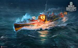 Фотографии World Of Warship Корабли Японская Destroyer Fujin Игры Армия