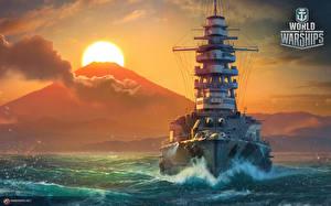 Фотография World Of Warship Корабли Рассветы и закаты Японские Солнце Mutsu Игры Армия
