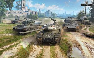 Фото World of Tanks Танки Самоходка Т-34 M4 Шерман Русские Британский Американские IS-2, ISU-122S, Cromwell B, M4A3E8 Thunderbolt VII компьютерная игра
