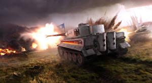 Картинка Танки WOT Немецкий Сзади Tiger Игры