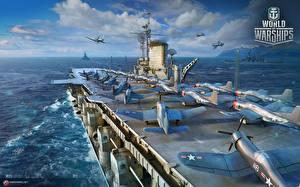Картинки Авианосец Истребители World Of Warship Корабли Американские Midway компьютерная игра Армия