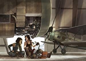 Обои Самолеты 2 Мотор Фантастика Девушки