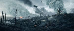 Картинки Battlefield 1 Дождь Развалины Война 3D_Графика