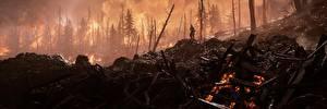 Фотографии Battlefield 1 Солдаты Огонь Деревья 3D_Графика