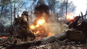 Фото Battlefield 1 Солдаты Пламя Война 3D_Графика