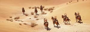 Фотографии Battlefield 1 Солдаты Лошади Пустыни 3D_Графика