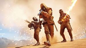 Картинка Battlefield 1 Солдаты Винтовки Пулеметы Втроем Игры 3D_Графика