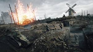 Картинка Battlefield 1 Танк Солдат Война компьютерная игра 3D_Графика