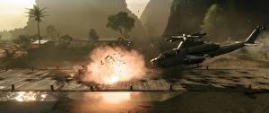 Картинки Battlefield 4 Вертолеты Выстрел Игры 3D_Графика