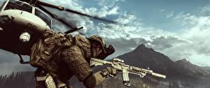 Обои Battlefield 4 Солдаты Автоматы Вертолеты Американские 3D_Графика