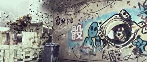 Фото Battlefield 4 Солдаты Граффити Американские Прыжок 3D_Графика