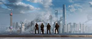 Картинки Battlefield 4 Солдаты Небоскребы Американские 3D_Графика