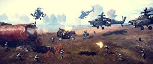 Картинка Battlefield 4 Война Солдаты Вертолеты 3D_Графика