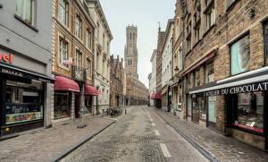 Картинки Бельгия Здания Улица Bruges Города