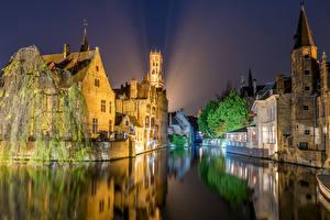 Фотографии Бельгия Дома Речка Брюгге Ночь Города