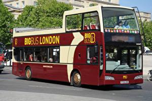 Фотографии Автобус Бордовый Машины