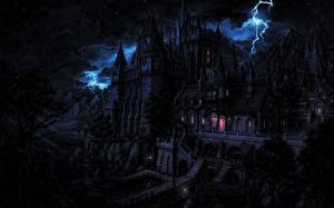 Картинка Замки Готические Ночные Молния Фэнтези