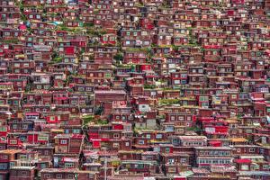 Картинка Китай Дома Много Sichuan, Larung Gar Города