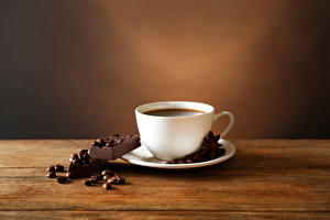 Фотография Кофе Шоколад Доски Чашка Зерна Пища