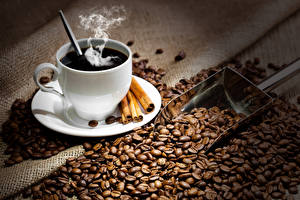 Обои Кофе Корица Чашка Зерна Пар Еда