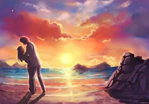 Фото Влюбленные пары Берег Рассветы и закаты Любовь Фэнтези