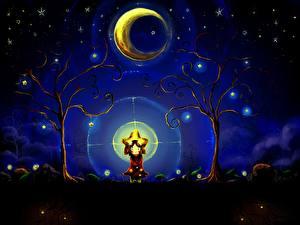 Картинка Лунный серп Девочки Ночные Деревья Фантастика