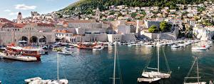 Картинки Хорватия Здания Причалы Катера Dubrovnik Города