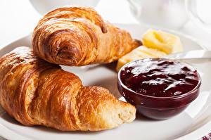Картинка Круассан Крупным планом Варенье Завтрак Пища