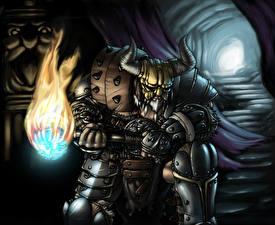 Обои Diablo 3 Воины Броня Факел Рога Пещера Barbarian Игры Фэнтези