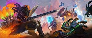 Фото Diablo World of WarCraft Heroes of the Storm Воители Сверхъестественные существа Мечи Moba, Murky, Wandering Barbarian, Kael'thas Фэнтези
