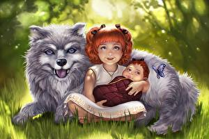 Фотографии Собака Девочки Грудной ребёнок Фантастика
