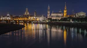 Фотографии Дрезден Германия Дома Реки Мосты Ночные