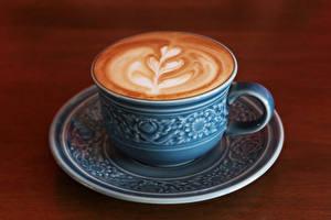 Фотографии Напитки Кофе Капучино Доски Чашка Продукты питания