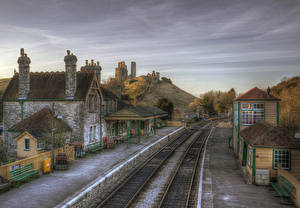 Фотографии Англия Здания Железные дороги HDRI Corfe Castle Station город
