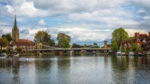 Фотография Англия Дома Реки Мосты Причалы Облака Marlow Города