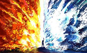 Обои Фантастический мир Пламя Вода Фэнтези