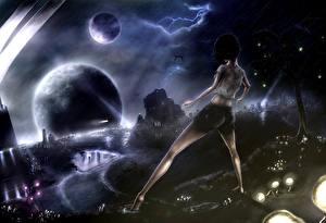 Фото Фантастический мир Планеты Ночные Молния Фантастика