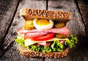 Обои Фастфуд Бутерброды Хлеб Колбаса Овощи Сэндвич Яйца Пища
