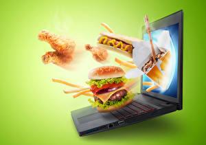 Картинка Фастфуд Гамбургер Хот-дог Цветной фон Ноутбуки